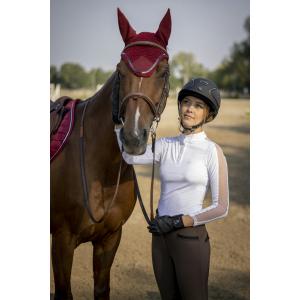 Polo de concours EQUITHÈME Pekin manches longues - Femme